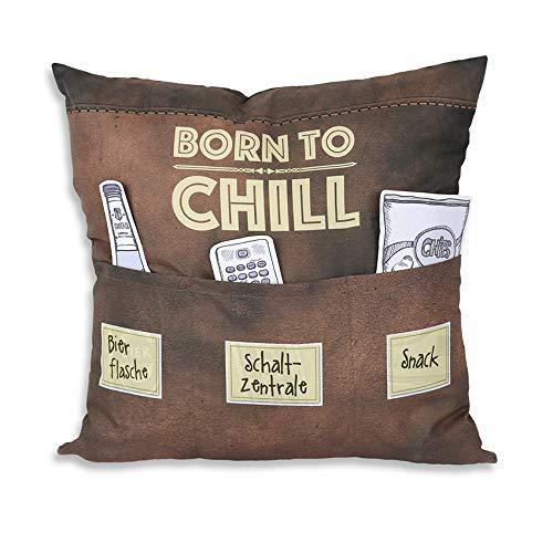 Kamaca Originelles Dekokissen Kissen mit 3 Taschen zum selber Befüllen Größe 43x43 cm tolles Geschenk für EIN gelungen Sofaabend Filmabend Öko Tex (Born to chill)