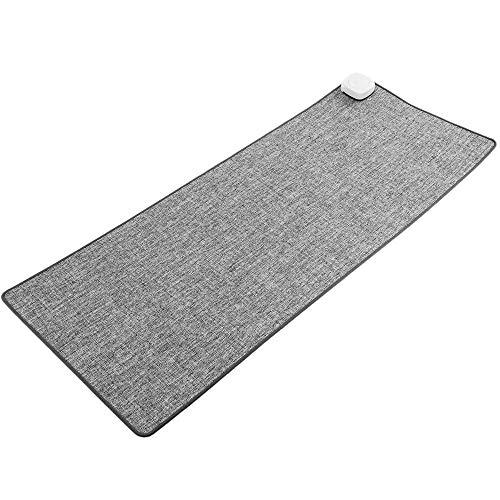 PrimeMatik - Heizteppich Thermisches Heizmatte Beheizter Teppich Pad-Schreibtisch hellgrau 80x32cm 77W