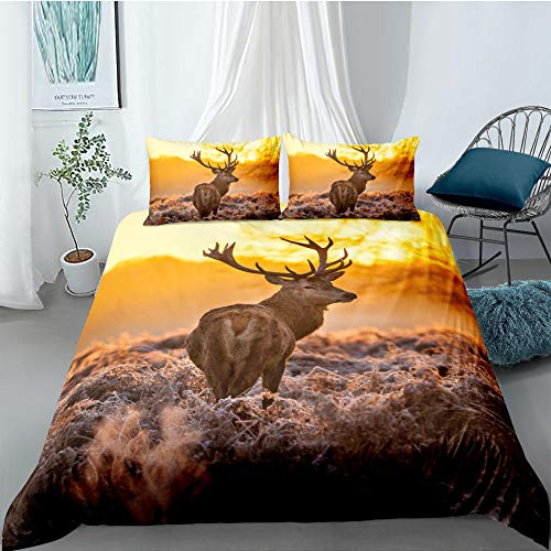 ACVMF Printed Duvet Cover Elk In The Sunset Forest Bedding Set 3 pcs (1x Duvet Cover and 2 x Pillowcases) 100% Polyester Microfiber Quilt Cover Sets For adults children 94.48 x 86.61 inch