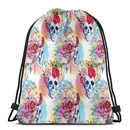 Easionerol Sugar Skull with Exotic Flowers Drawstring Bags Gym Bag Travelling Portable