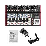 Muslady SL-8 Mezclador de Consola Mezcladora Portátil de 8 canales Ecualizador de 2 bandas Incorporado 48V Alimentación Fantasma Compatible con Conexión BT Reproductor de MP3 USB