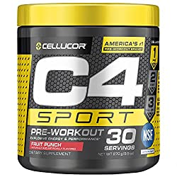 C4 Sport Pre Workout Powder Fruit Punch - NSF Certified for Sport + Preworkout Energy Supplement for