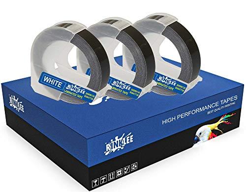 RINKLEE Weiß auf Schwarz 3D Prägeband Etiketten Schriftband Kompatibel mit DYMO Omega & Junior Etikettenprägegerät | 9 mm x 3 m | 3 Kassetten