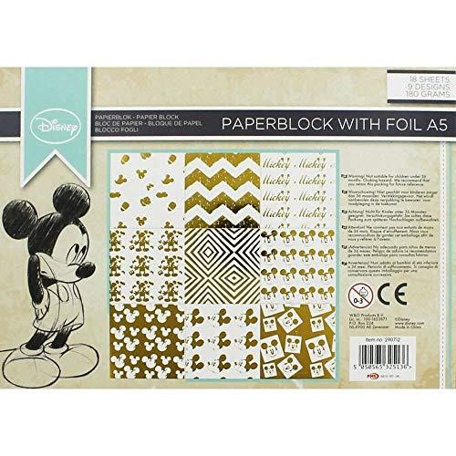 Disney Personaje Papel de Scrapbooking Paquetes A5 Craft Almohadillas Aluminio Bloque Surtido Diseños - Mickey Mouse 18pcs