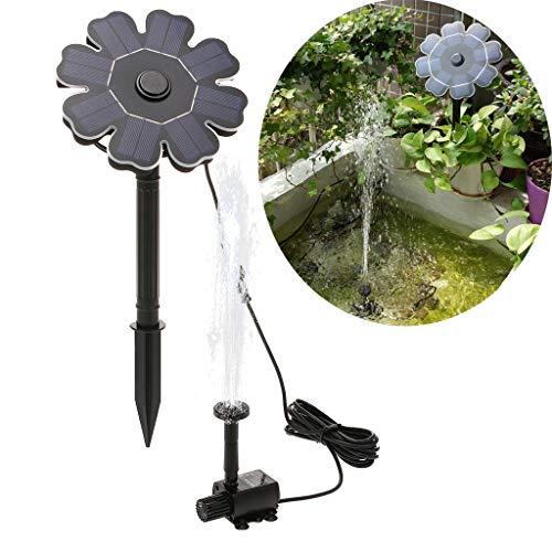 Lomelomme Solar Springbrunnen Garten Wasserpumpe mit 1.5W Monokristalline Solar Panel und 4 Fontänenstile, Solar Brunnen Teichpumpe Set für Garten, Kleiner teich, Pool (2.5W)