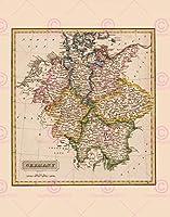 MAP LUCAS 1814一般的なアトラスドイツ大きいレプリカのポスター印刷PAM1005