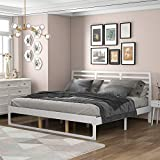 King Bed Frame with Headboard ,Wood Platform King Bed,No Box Spring Needed (White, King)