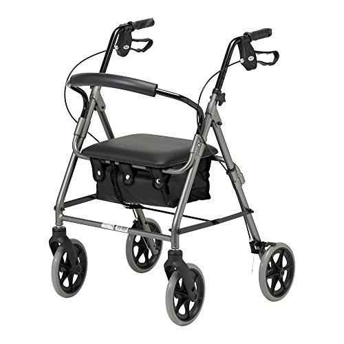 Days Leichtklapp Four Wheel Rollator Walker mit gepolstertem Sitz, abschließbare Bremsen, Ergonomische Griffe und Tragetasche, eingeschränkte Mobilität Hilfe, Quarz, Klein,