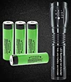 (LED Flashlight Not-Included) Set With 4x 18650 NCR18650B Button top Rechargeable Battery, 3400mAh Made in Japan for Emergency Flashlights,Video Doorbell, USB Fan, Power bank