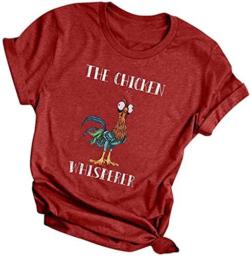 Camisetas para mujer, talla grande, camiseta de cuello redondo, con estampado de pollo, túnica