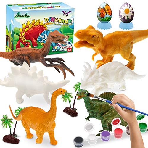 Dinosaur Painting Kit for Kids - Dinosaur Toys Arts and Crafts for Kids Dinosaur Party Favors Supplies Boys Easter Toys for 3 Year Old Girls DIY Christmas Birthday Gifts for Age 3 4 5 6 7 8