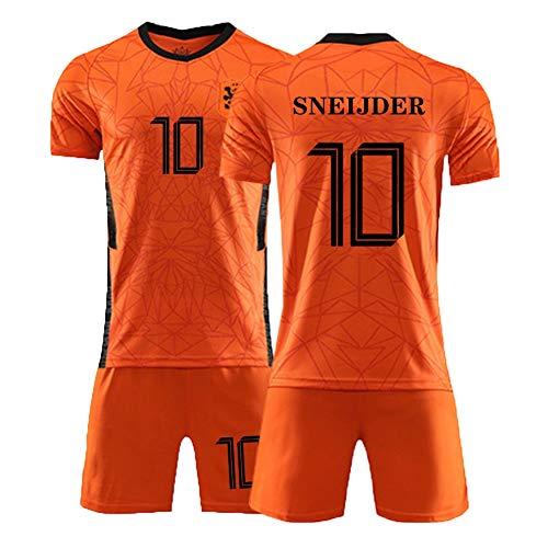 RBR Kinder Kurzarm-Shorts 2 Zweiteiler Anzug Wesley Sneijder # 10 Jersey T-Shirt Kindergrößen 2XS~M (Farbe: Orange, Größe: XS)