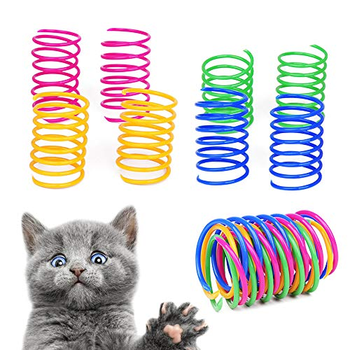 Gobesty Interaktives Spirale Katzenspielzeug, 20 Stücke Buntes Frühling Katze Spielzeug Kunststoff Katzen Spielezeug Spirale Interaktives Katzenspielzeug Neuheit Haustiere Spielzeug Geschenk