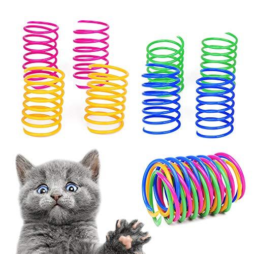 Gobesty Spring - Juego de juguetes para gatos de colores, de plástico, en espiral, interactivo, regalo para entrenar