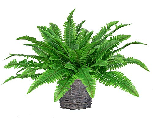 LSKY 4 Pack Artificial Ferns Plants Artificial Shrubs Boston Fern Bush Plant Silk Ferns Leaves UV Protected for Home Kitchen Garden Wall Decor Indoor Outdoor Use