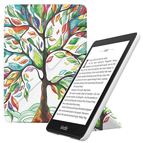 MoKo Funda Compatible con Kindle Paperwhite (10th Generation, 2018 Releases), Standing Origami Slim Shell Funda con Auto Sueño/Estela Compatible con Kindle Paperwhite 2018 - Árbol de Suerte
