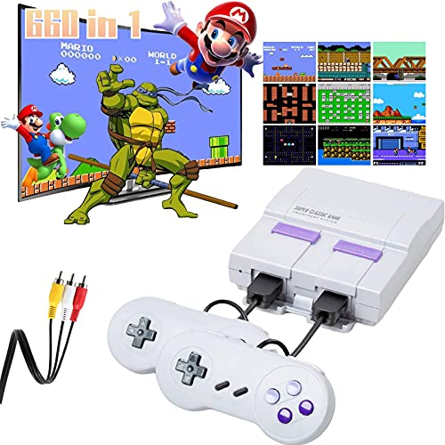Retro Game Console,Classic Mini NES Console with Built-in 660 Video Games and 2 NES Classic Controllers,AV Output Plug & Play Game System for Kids and Adults