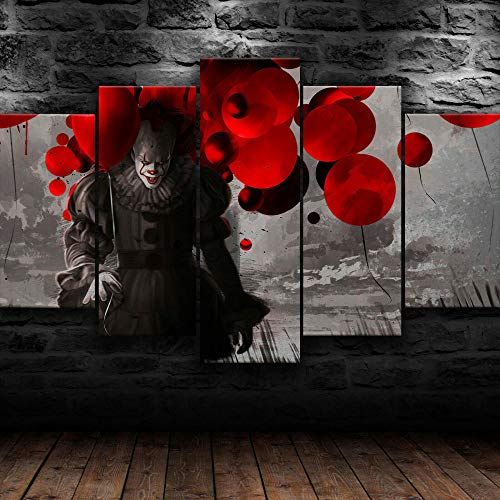 GIRDSSA Prints On Canvas ArtworkIT Pennywise Horror Scary Movie Clown 5 Piece Hd Wallpapers Art Canvas Print Modern Poster Modular Art Painting Living Room Home Decor