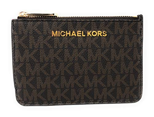 Michael Kors Jet Set Travel Small Top Zip Signature Coin Pouch ID Card Case Wallet In Brown/Sangria