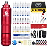 Dragonhawk M3 Rotary Tattoo Pen Machine Kit 40Pcs Extreme Cartridges Needles Lcd Digital Power Supply 10 Colors Inks Grip Covers for Starters Artists 340-50P