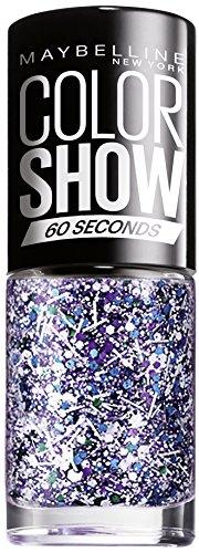 Maybelline ColorShow Nagellack, Nr. 02 white Splatter, bringt die Laufsteg-Trends aus New York auf die Nägel, Überlack mit Glanzpartikeln in blau-violett und weiß, 7 ml