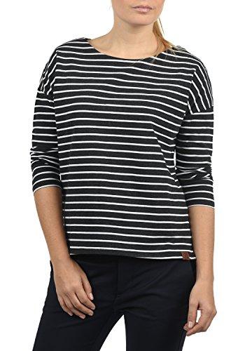 DESIRES Leni Damen Sweatshirt Pullover Sweater Mit U-Boot-Ausschnitt Und 3/4 Arm, Größe:S, Farbe:Dark Gr/WH (8288W)