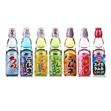 Hatakosen Ramune Soda (Geschenkset) 200ml (7 Flaschen) Original, Wassermelone, Erdbeere, Melone, Heidelbeere, Orange und Ananas.