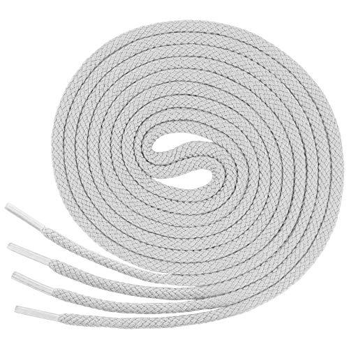 Lenzen 3 Paar runde Schnürsenkel für jeden Schuh I Aus extrem reißfestem Polyester (150 cm, 7-8 Lochpaare, weiß)