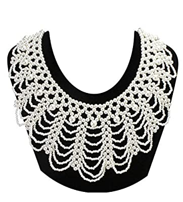 ZYIJUNY Dissent Collar RBG Fake Collar Elegant Pearl Beaded Ajustable Choker for Women costume (White01)