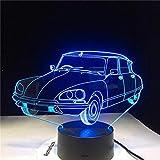 SCNYCUL 3D Veilleuse Grande voiture aérodynamique implicite16 colors USB LED Lampe de Table Ampoule Amoureux Doux Cadeau