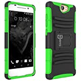 HTC One A9 Case, CoverON [Explorer Series] Tough Hybrid Belt Clip Hard Phone Cover for HTC One A9 Holster Case - Neon Green & Black