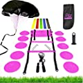 Premium Speed Agility Training Set Equipment Kit Includes Ladder, 10 Cones with Holder, Running Parachute, Jump Rope, Resistance Bands - Football, Soccer, Basketball, Hockey Training Athletes (Pink)