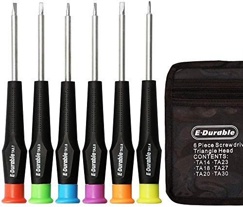 E·Durable Triangle Head Screwdriver Set, Triangle Screws Driver Tool Kit Fix Electronic Toys - for Thomas McDonald's Toy Repair & Battery replacement, in carry pouch (Toy Triangle Driver Set)