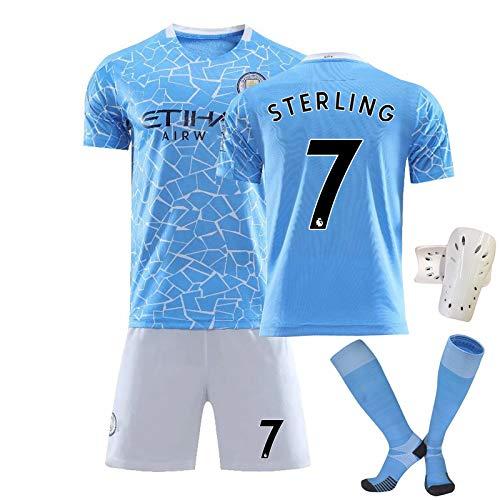 YLHLZZ Uniforme de fútbol de Manster Manchester, 7 Sterling 10 Agüero 17 Bruyne Summer Soccer Sports Traje, Jersey de Entrenamiento de fútbol, se Puede Lavar repetidament 7-26