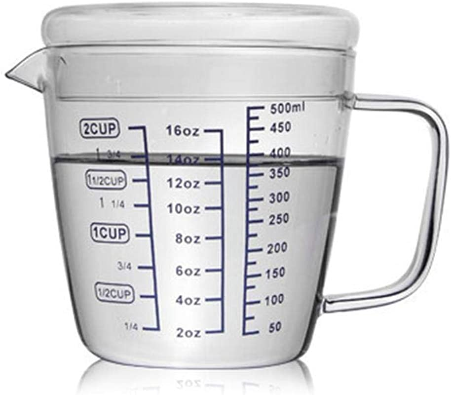 Glass Beaker Measuring Cup With Lid 250ml 500ml Mixing Pitcher With Scale Child Adult Breakfast Cup For Home Kitchen Baking Beverage Flour