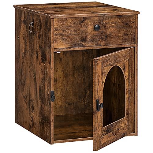 HOOBRO Katzentoilette, Katzenklo Schrank mit Schubladen und Einzeltür, Nachttisch, vergrößerter Türöffnung, Katzenhaus, 2 Griffe, stabile, für kleine, große Katzen, für Schlafzimmern EBF04MW01