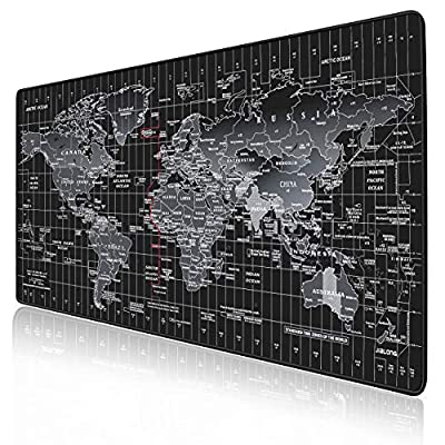 JIALONG Gaming Mouse Mat Desk Office Mouse Pad Large Size 900x400x3mm Comfortable Mousepad with Smooth Cloth Surface, Improved Precision and Speed - Black World Map