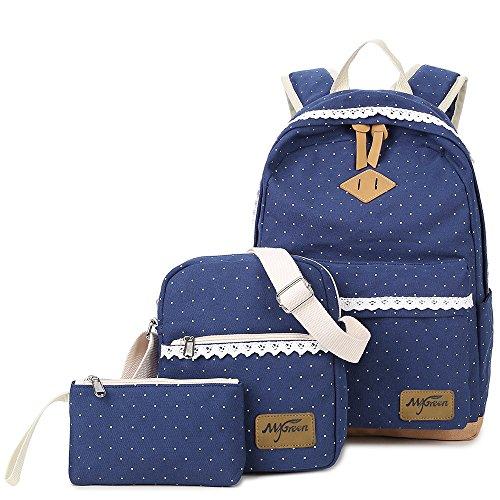 Casual Canvas Schulrucksack Set+Schultertasche +Geldbeutel/Mäppchen Causal Rucksack Freizeitrucksack Daypacks Backpack für Mädchen Jungen & Kinder Jugendliche Damen Herren (Vintage-Blau)