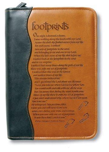 Footprints Book & Bible Cover: Duo-Tone, Footprints, Medium, Two Tone Brown