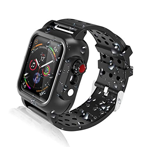 Realproof Waterproof Apple Watch Case 44MM Series 5 | 4 with 3PCS Premium Soft Silicone Band, Dropproof Shockproof Impact Resistant Rugged Protective iWatch Case Bulit-in Screen Protector- Black