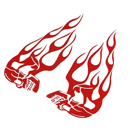 2Pcs Motorcycle Motorbike Stickers for Gas Fuel Tank Flames Skull Type