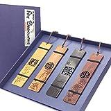 4pcs Segnalibri in legno massello Intagliato con crisantemo bambù orchidea prugna Segnalibri per donne, l'uomo