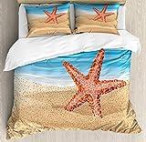 Juego de funda nórdica Cancun, diseño de estilo de dibujos animados de una estrella de mar en la playa, juego de cama decorativo de 3 piezas con 2 fundas de almohada, Deep Sky Blue Vermilion Dark Sand