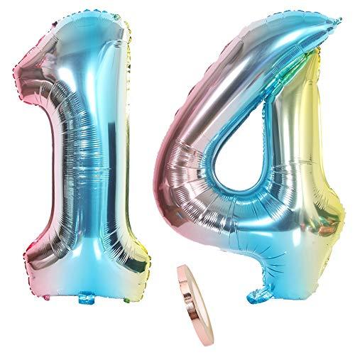 """2 Globos Número 14, Número Globo Rainbow Boy Guys,32 """"Globo de Papel de Helio Inflable Gigante Azul Colorido Globos iridiscentes Estatuillas para la decoración de la Fiesta de cumpleaños (XXXL 80cm)"""