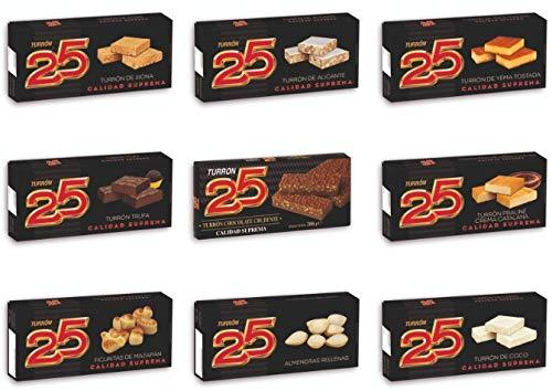 PACK ESPECIAL NAVIDAD TURRON 25. CALIDAD SUPREMA. Turrón jijona / blando, turrón Alicante / duro, yema tostada, coco, praliné de trufa, chocolate crujiente, crema catalana, figuritas y almendritas.