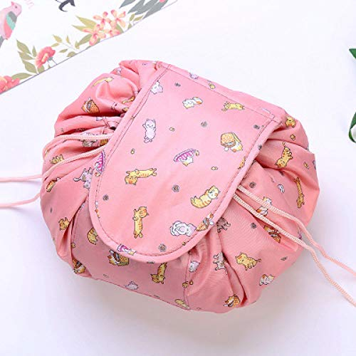 LJQLXJWomen Drawstring Travel Cosmetic Bag Makeup BagMake Cosmetic Bag Case Storage Pouch Toiletry Beauty Kit,Lucky Cat