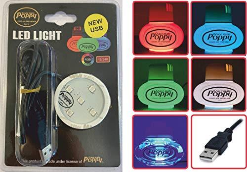 Original Poppy Grace Mate USB LED-Scheibe Rot, Grün und Blau - 3M Sticky Pad für LKW und Auto