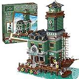 Seasy Juego de construcción de bloques de construcción para casa, caseta de pescador, restaurante arquitectura, modelo de 3545 piezas, compatible con tienda de pesca antigua Lego 21310