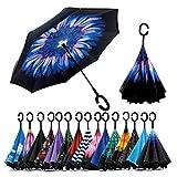 Killerzone C Handle Umbrella Double Layer Inverted Reversible No Drip Umbrella with C Shape Handle - Multi Design Send