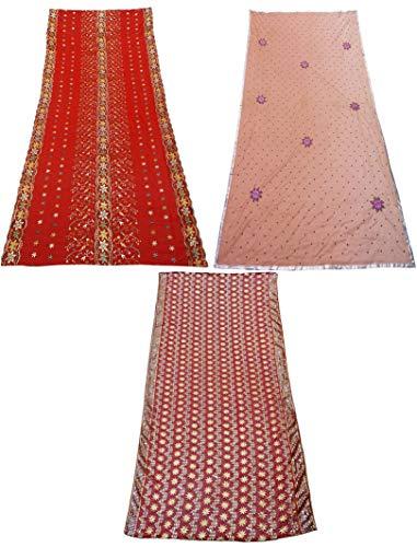 PEEGLI Combo Indio De 3 Piezas Multicolor Dupatta Ropa De Mujer Bufanda De Tela Mixta Patrón De Mezcla De Tela Vintage Estola Larga Tradicional